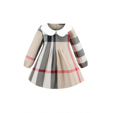 Lovely Chic Patchwork Apricot Girl Knee Length Dress