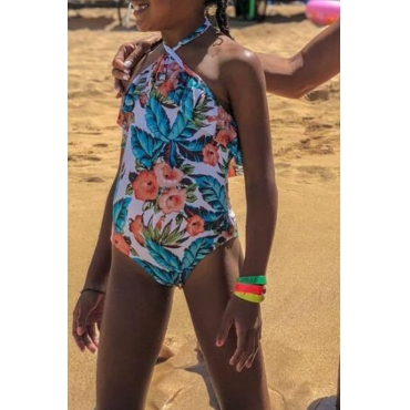 Lovely Family Print Multicolor Bathing Suit Girl One-piece Swimsuit