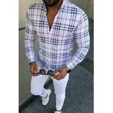Lovely Casual Grid Print White Shirt