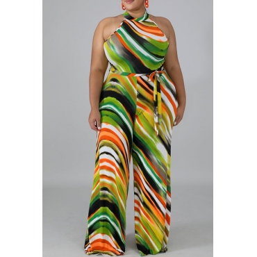 Lovely Casual Striped Print Multicolor Plus Size One-piece Jumpsuit