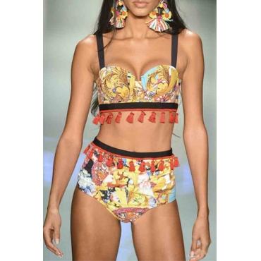 Lovely Print Yellow Bathing Suit Two-piece Swimsuit