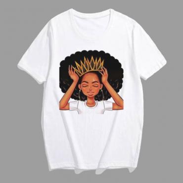 Lovely Leisure Print White Plus Size T-shirt