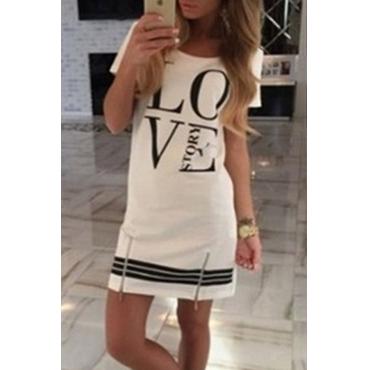 Lovely Casual Letter Print White Mini T-shirt Dress