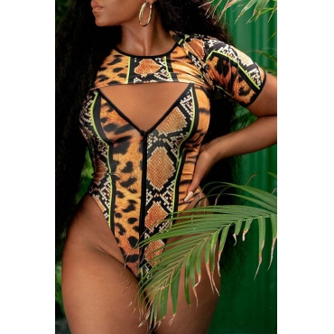 Lovely Print Multicolor One-piece Swimsuit(With T-shirt)