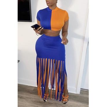 Lovely Trendy Tassel Design Blue Two-piece Skirt Set