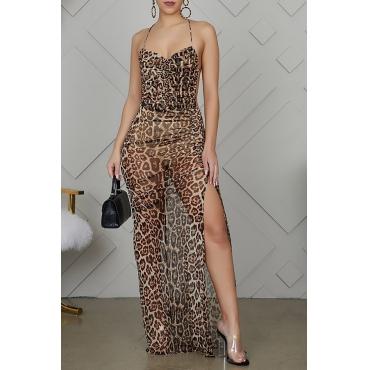 Lovely Sexy Leopard Print Maxi Dress