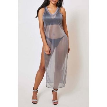 Lovely Leisure See-through Grey Ankle Length Dress