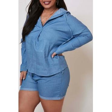 Lovely Leisure Knot Design Blue Plus Size Two-piece Shorts Set