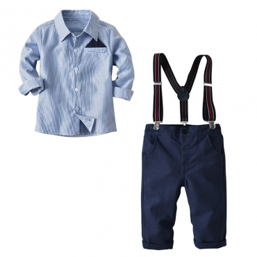 Lovely Trendy Striped Blue Boy Two-piece Pants Set