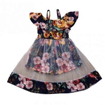 Lovely Bohemian Print Blue Girl Knee Length Dress
