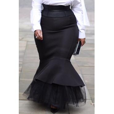Lovely Casual Flounce Design Black Plus Size Skirt