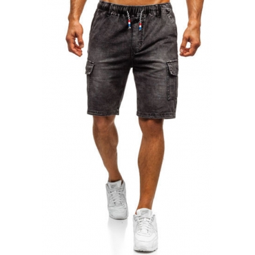 Lovely Casual Pocket Patched Black Shorts