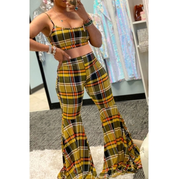 Lovely Sweet Grid Multicolor Two-piece Pants Set