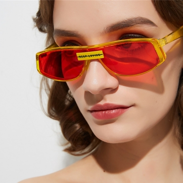 Lovely Retro Patchwork Yellow Sunglasses