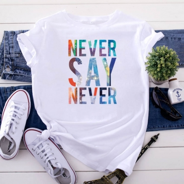 Lovely Leisure O Neck Letter Print White Plus Size T-shirt