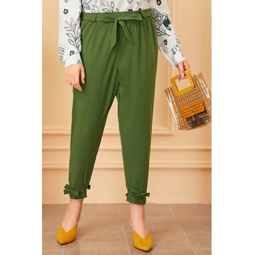 Lovely Casual Lace-up Green Plus Size Pants