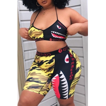 Lovely Lovelywholesale Sexy Printed Yellow Two-piece Shorts Set