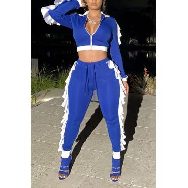 Lovely Casual Flounce Design Blue Two-piece Pants Set