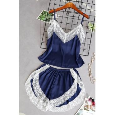 Lovely Sexy Lace Patchwork Navy Blue Sleepwear