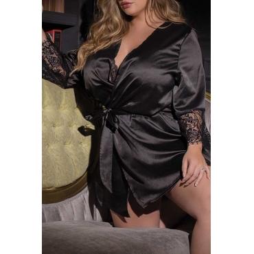 Lovely Sexy Lace Hem Black Babydolls