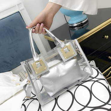 Lovely Chic See-through Silver Messenger Bag