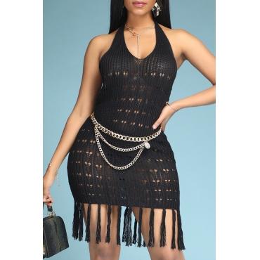 Lovely Trendy Tassel Design Black Mini Dress
