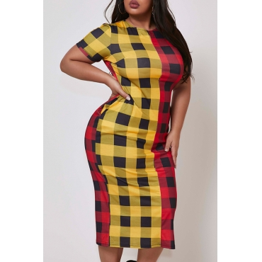 Lovely Trendy O Neck Grid Print Red Mid Calf Plus Size Dress