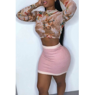 Lovely Casual Print Pink Two-piece Skirt Set