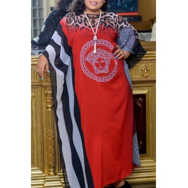 Lovely Casual Print Red Ankle Length Plus Size Dress