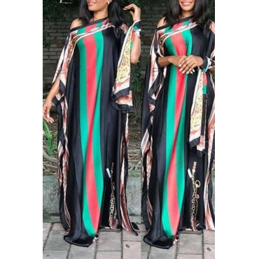 Lovely Trendy Print Black Maxi Plus Size Dress