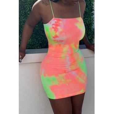 Lovely Casual Tie-dye Jacinth Mini Dress