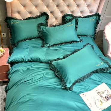 Lovely Leisure Flounce Design Blackish Green Bedding Set