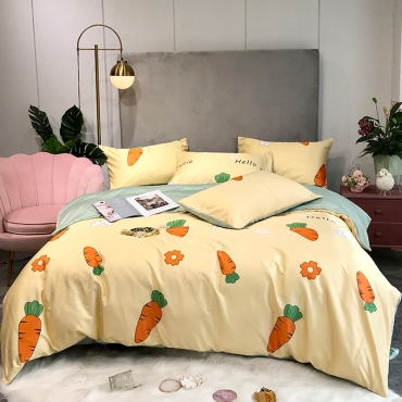 Lovely Cosy Carrot Print Yellow Bedding Set