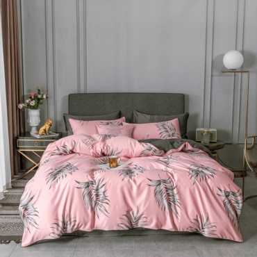 Lovely Trendy Plants Print Pink Bedding Set