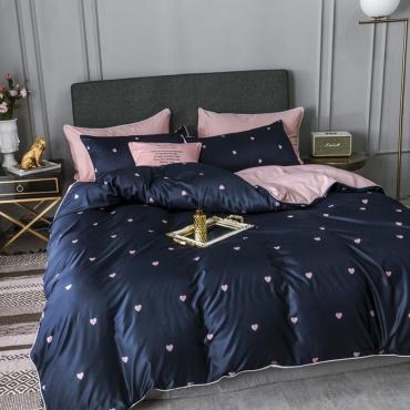 Lovely Trendy Heart Print Deep Blue Bedding Set