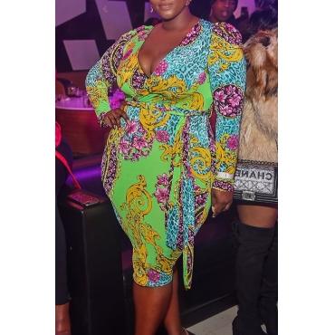 Lovely Trendy Print Green Knee Length Plus Size Dress