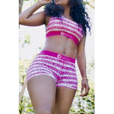 Lovely Leisure Letter Print Rose Red Two-piece Shorts Set