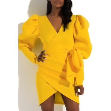 Lovely Trendy V Neck Fold Design Yellow Mini Dress