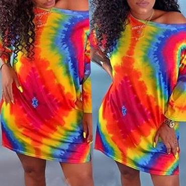 Lovely Casual Tie-dye Multicolor Knee Length T-shirt Dress