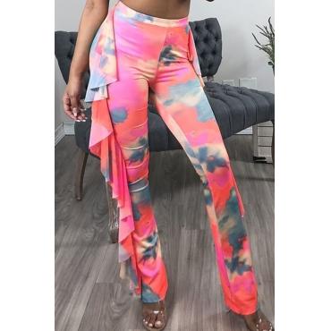Lovely Casual Flounce Design Multicolor Pants