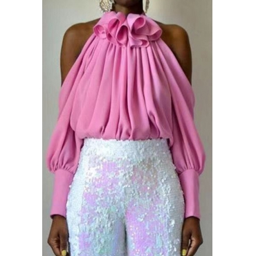 Lovely Sweet Hollow-out Pink Blouse