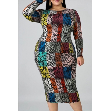 Lovely Trendy Print Multicolor Mid Calf Plus Size Dress