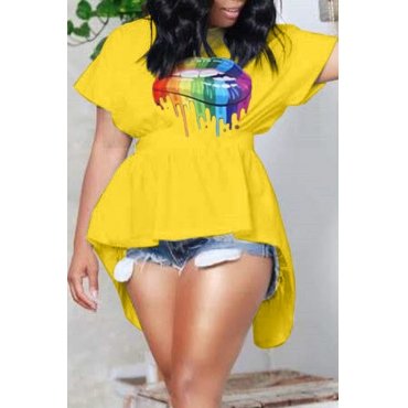 Lovely Leisure Lip Print Yellow T-shirt