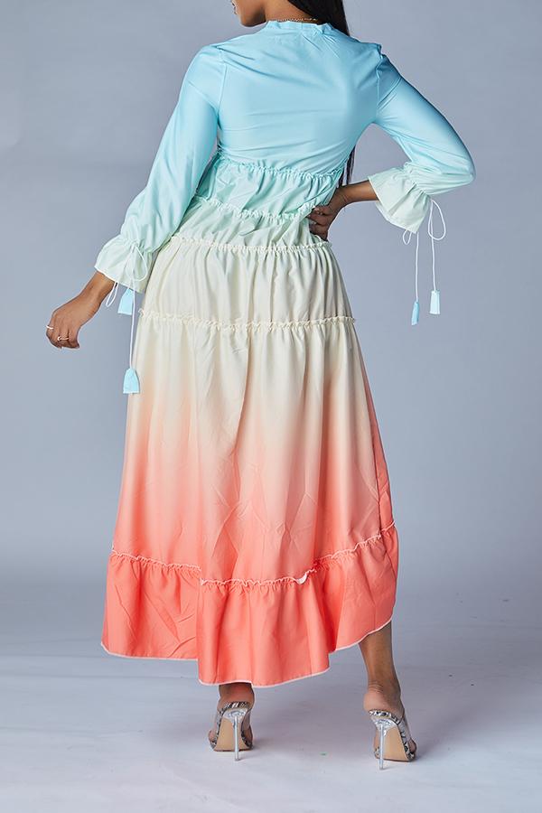 Lovely Sweet Gradual Change Multicolor Ankle Length Dress