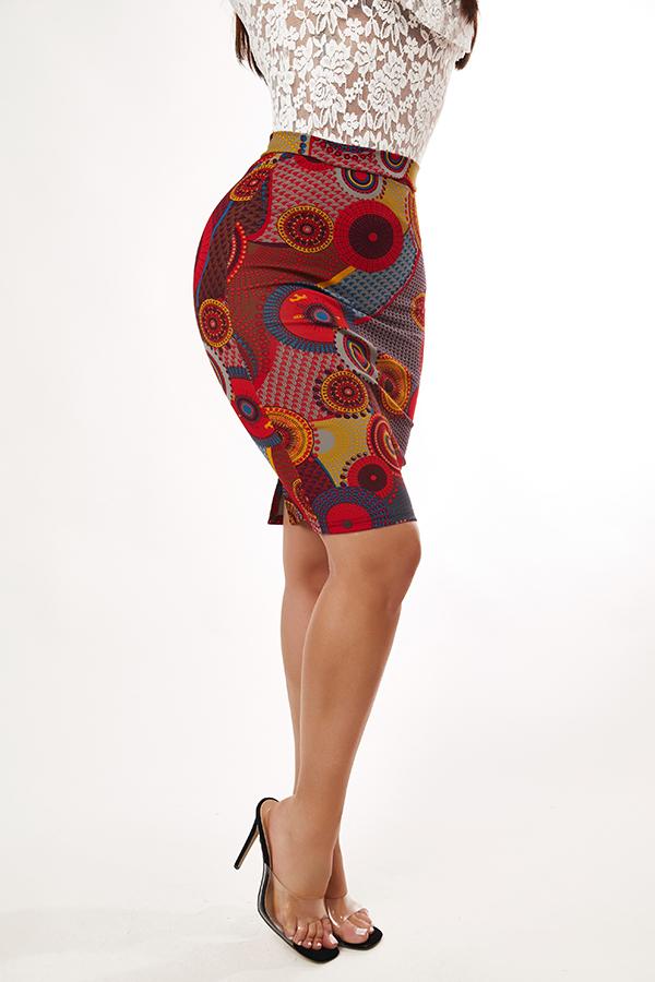 Lovely PBohemian Print Dull Red Skirt