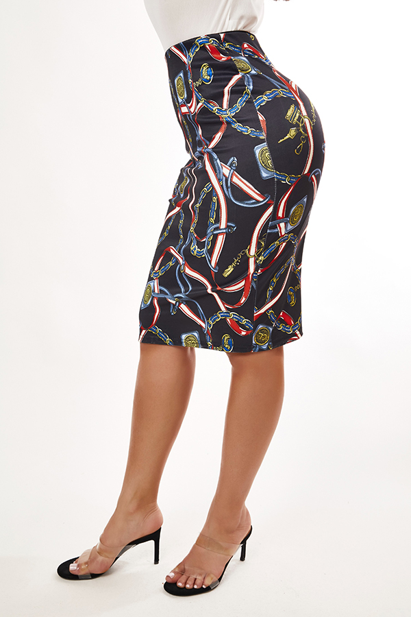 Lovely Trendy Print Black Skirt