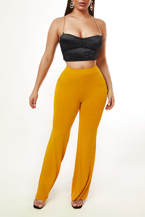 Lovely Casual Basic Yellow Pants
