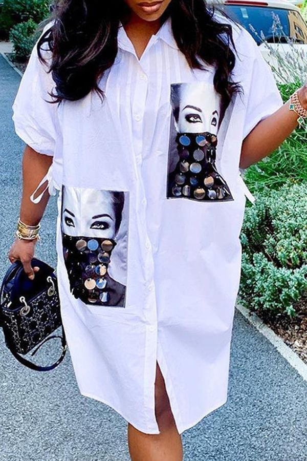Lovely Casual Print White Knee Length Shirt Dress
