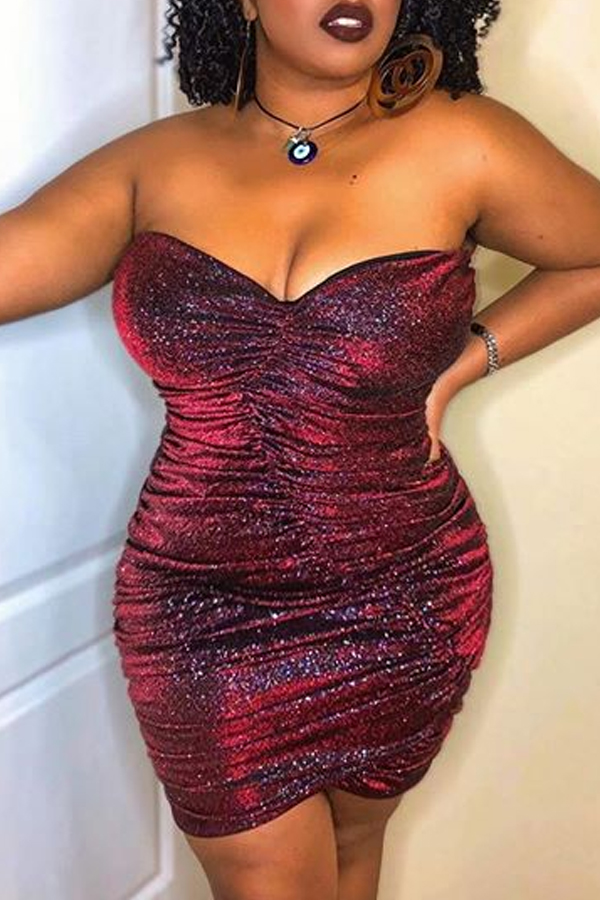 Lovely Sexy Fold Design Wine Red Knee Length Plus Size Dress