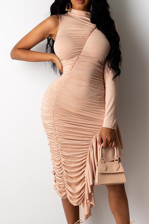 Lovely Trendy One Shoulder Fold Design Champagne Knee Length Dress